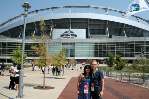 In front of INVESCO Field before the Obama Speech